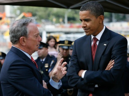 New York Mayor Michael Bloomberg, left and Democratic presidential candidate, Sen. Barack Obama, D-Ill. talk after a commemoration ceremony in New York, Thursday, Sept. 11, 2008. (AP Photo/Shannon Stapleton, Pool)