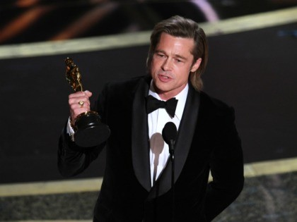 HOLLYWOOD, CALIFORNIA - FEBRUARY 09: Brad Pitt accepts the Actor in a Supporting Role award for 'Once Upon a Time...in Hollywood' onstage during the 92nd Annual Academy Awards at Dolby Theatre on February 09, 2020 in Hollywood, California. (Photo by Kevin Winter/Getty Images)