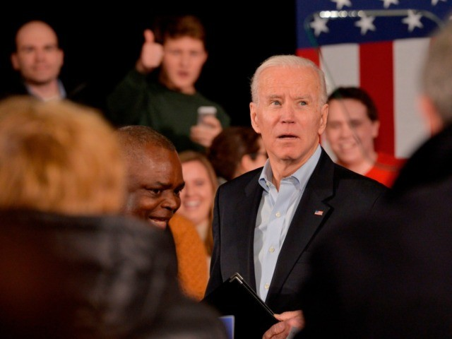 US Presidential Candidate and former Vice President Joe Biden speaks at a rally at the Rex Theatre in Manchester, New Hampshire on February 8, 2020. (Photo by Joseph Prezioso / AFP) (Photo by JOSEPH PREZIOSO/AFP via Getty Images)