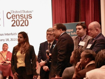 Steven Gillingham, the director of the U.S. Census Bureau (center) listens with other members of the bureau as a representative from Al Sharpton's National Action Network complained about the Trump administration's ability to conduct the 2020 Census. (Penny Starr/Breitbart News)