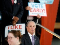Democratic presidential candidate and former New York City Mayor Mike Bloomberg arrives to speak at a campaign event in Raleigh, N.C., Thursday, Feb. 13, 2020. (AP Photo/Gerald Herbert)