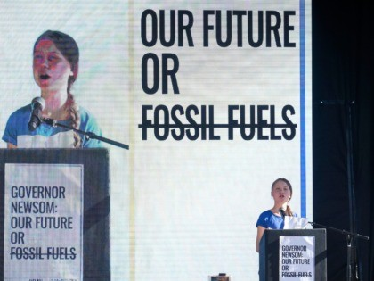 Climate activist Greta Thunberg speaks after a climate change march in Los Angeles, on Friday, Nov. 1, 2019. Thunberg says young people are rallying to fight climate change because their age leaves them with the most to lose from damage to the planet. (AP Photo/Ringo H.W. Chiu)