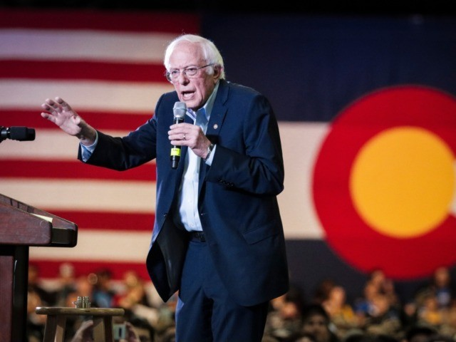 DENVER, CO - FEBRUARY 16: Democratic presidential candidate Sen. Bernie Sanders (I-VT) speaks to a large crowd of supporters at a rally in the Colorado Convention Center on February 16, 2020 in Denver, Colorado. (Photo by Marc Piscotty/Getty Images)