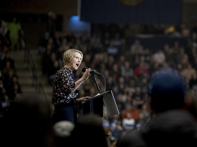 Actress Cynthia Nixon speaks at a campaign rally for Democratic presidential candidate Sen. Bernie Sanders, I-Vt., at the Whittemore Center Arena at the University of New Hampshire, Monday, Feb. 10, 2020, in Durham, N.H. (AP Photo/Andrew Harnik)