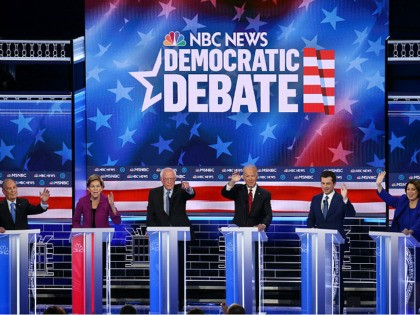 Democrat Debate LAS VEGAS, NEVADA - FEBRUARY 19: Democratic presidential candidates (L-R) former New York City Mayor Mike Bloomberg, Sen. Elizabeth Warren (D-MA), Sen. Bernie Sanders (I-VT), former Vice President Joe Biden, former South Bend, Indiana Mayor Pete Buttigieg, and Sen. Amy Klobuchar (D-MN) participate in the Democratic presidential primary …