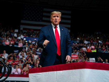 President Donald Trump arrives to speak at a campaign rally at Veterans Memorial Coliseum, Wednesday, Feb. 19, 2020, in Phoenix. (AP Photo/Evan Vucci)