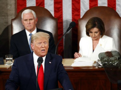 President Donald Trump delivers his State of the Union address to a joint session of Congress on Capitol Hill in Washington, Tuesday, Feb. 4, 2020, as Vice President Mike Pence and House Speaker Nancy Pelosi, D-Calif., watch. (AP Photo/Patrick Semansky)