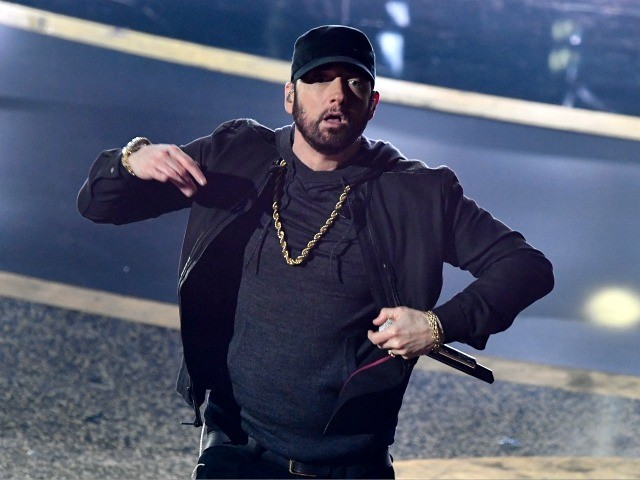 US rapper Eminem performs onstage during the 92nd Oscars at the Dolby Theatre in Hollywood, California on February 9, 2020. (Photo by Mark RALSTON / AFP) (Photo by MARK RALSTON/AFP via Getty Images)
