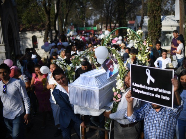 TOPSHOT - The coffin of a seven-year-old girl whose body was found over the week-end with signs of torture, is carried at the cemetery before her burial, in Mexico City, on February 18, 2020. - The girl was reported missing by her parents on February 11, while her body was …