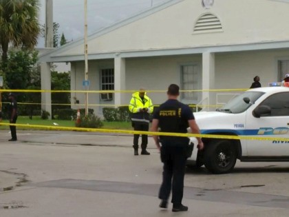 This still image taken from video provided by WPEC CBS 12 News shows emergency responders at the scene of a shooting at the Victory City Church in Riviera Beach, Fla., Saturday, Feb. 1, 2020. Fatalities were caused by gunfire that erupted at a funeral according to authorities. (WPEC CBS 12 …