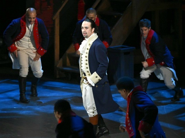 "FILE - In this June 12, 2016 file photo, Lin-Manuel Miranda and the cast of ""Hamilton"" perform at the Tony Awards in New York. Next year, you'll be able to see the original Broadway cast of ""Hamilton"" perform the musical smash from the comfort of a movie theater. The Walt …"