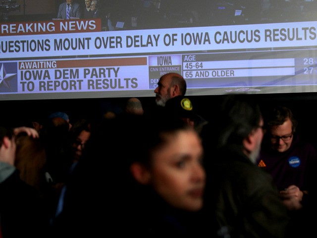 DES MOINES, IOWA - FEBRUARY 03: Supporters of democratic presidential candidate Sen. Bernie Sanders (I-VT) wait for results to come in at his caucus night watch party on February 03, 2020 in Des Moines, Iowa. Iowa is the first contest in the 2020 presidential nominating process with the candidates then …