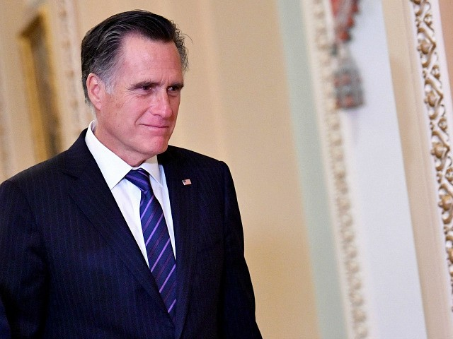 US Senator Mitt Romney (R-UT) is seen during a recess of the impeachment trial proceedings of US President Donald Trump on Capitol Hill January 30, 2020, in Washington, DC. - The fight over calling witnesses to testify in President Donald Trump's impeachment trial intensified January 28, 2020 after Trump's lawyers …