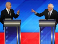Democratic presidential candidates former Vice President Joe Biden and Sen. Bernie Sanders (I-VT) participate in the Democratic presidential primary debate in the Sullivan Arena at St. Anselm College on February 07, 2020 in Manchester, New Hampshire. Seven candidates qualified for the second Democratic presidential primary debate of 2020 which comes …