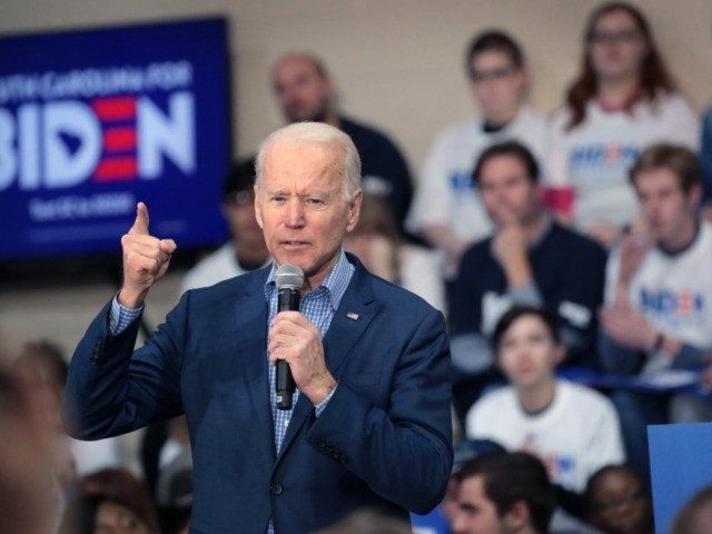 CONWAY, SOUTH CAROLINA - FEBRUARY 27: Democratic presidential candidate former Vice President Joe Biden speaks to guests during a campaign stop at Coastal Carolina University on February 27, 2020 in Conway, South Carolina. Voters in South Carolina will cast ballots to make their selection for the Democratic nominee for president …