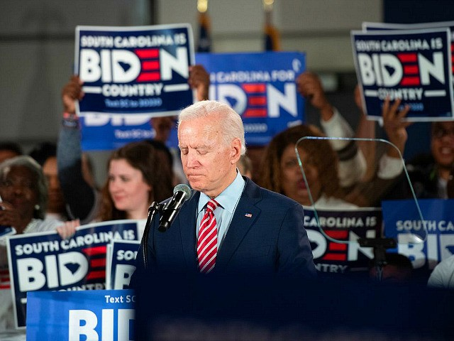 Democratic presidential candidate former Vice President Joe Biden addresses the crowd during a South Carolina campaign launch party on February 11, 2020 in Columbia, South Carolina. Biden skipped a primary-night event in New Hampshire after the count there showed a distant finish to front runner Sen. Bernie Sanders (I-VT). (Photo …