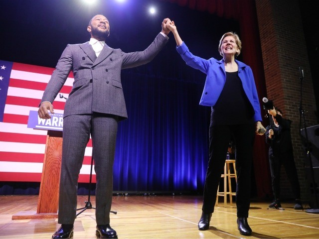 ORANGEBURG, SOUTH CAROLINA - FEBRUARY 26: Democratic presidential candidate, Senator Elizabeth Warren (D-MA) appears with musician John Legend at a Get Out the Vote Rally at South Carolina State University ahead of South Carolina's primary on February 26, 2020 in Orangeburg, South Carolina. South Carolinians go to the polls on …
