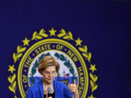 NASHUA, NEW HAMPSHIRE - FEBRUARY 05: Democratic presidential candidate Sen. Elizabeth Warren (D-MA) speaks during a campaign event at Nashua Community College February 05, 2020 in Nashua, New Hampshire. According to a new set of partial Iowa caucus results, Warren is third behind Democratic presidential candidates former South Bend, Indiana …
