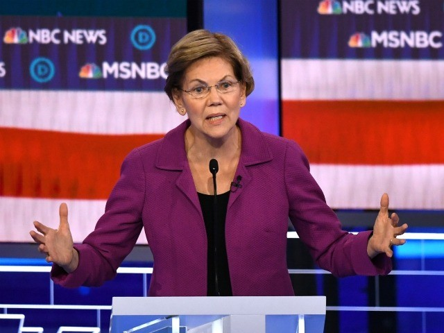 Democratic presidential hopeful Massachusetts Senator Elizabeth Warren speaks during the ninth Democratic primary debate of the 2020 presidential campaign season co-hosted by NBC News, MSNBC, Noticias Telemundo and The Nevada Independent at the Paris Theater in Las Vegas, Nevada, on February 19, 2020. (Photo by Mark RALSTON / AFP) (Photo …