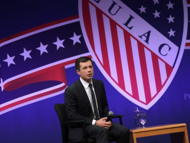 NORTH LAS VEGAS, NEVADA - FEBRUARY 13: Democratic presidential candidate former South Bend, Indiana Mayor Pete Buttigieg, participates in a LULAC Presidential Town Hall at The College of Southern Nevada February 13, 2020 in North Las Vegas, Nevada. League of United Latin American Citizens held the presidential town hall with …