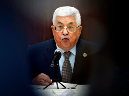 Palestinian President Mahmoud Abbas speaks during a meeting with Palestinian leaders at the Muqata, the Palestinian Authority headquarters, in the West Bank city of Ramallah, on February 20, 2019. (Photo by ABBAS MOMANI / AFP) (Photo credit should read ABBAS MOMANI/AFP via Getty Images)