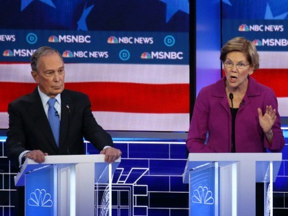 LAS VEGAS, NEVADA - FEBRUARY 19: Democratic presidential candidate (L) former New York City Mayor Mike Bloomberg and Sen. Bernie Sanders (I-VT) listen as Sen. Elizabeth Warren (D-MA) speaks during the Democratic presidential primary debate at Paris Las Vegas on February 19, 2020 in Las Vegas, Nevada. Six candidates qualified …