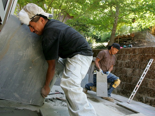 SAN RAFAEL, CA - MAY 23: Illegal immigrants Misael Amrocio (L) and Jose Augustine, both of Guatemala, layout a flagstone patio while working on a landscaping job May 23, 2007 in San Rafael, California. Both Misael and Jose came to the United States from Guatemala and are currently living and …