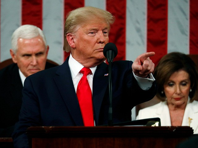 WASHINGTON, DC - FEBRUARY 04: U.S. President Donald Trump delivers the State of the Union address in the House chamber on February 4, 2020 in Washington, DC. Trump is delivering his third State of the Union address on the night before the U.S. Senate is set to vote in his …