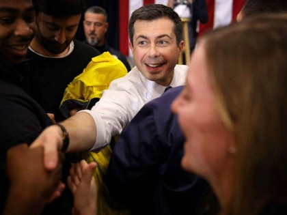 SALEM, NEW HAMPSHIRE - FEBRUARY 09: Democratic presidential candidate, former South Bend, Indiana Mayor Pete Buttigieg greets members of the audience after speaking at a town hall campaign event at Salem High School February 09, 2020 in Salem, New Hampshire. New Hampshire holds its first-in-the-nation primary in two days. (Photo …