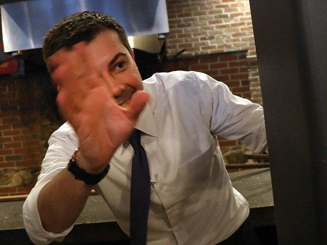HAMPTON, NEW HAMPSHIRE - FEBRUARY 04: Democratic presidential hopeful Pete Buttigieg greets supporters at a pizzeria in Hampton, New Hampshire the morning after the flawed Iowa caucus on February 04, 2020 in Manchester, New Hampshire. Despite a botched election caucus process that has delayed the release of the state's results, …