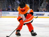 ST LOUIS, MISSOURI - JANUARY 25: Mascot Gritty of the Philadelphia Flyers participates in the mascot game prior to the 2020 Honda NHL All-Star Game at Enterprise Center on January 25, 2020 in St Louis, Missouri. (Photo by Dilip Vishwanat/Getty Images)