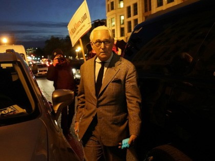 WASHINGTON, DC - NOVEMBER 14: Roger Stone, former advisor to U.S. President Donald Trump, departs federal court on November 14, 2019 in Washington, DC. Stone has been charged for witness tampering, lying to and obstructing Congress, in a case that originated from the special counsel investigation into Russian interference in …