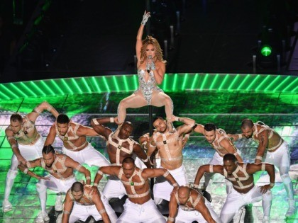 US singer Jennifer Lopez performs during the halftime show of Super Bowl LIV between the Kansas City Chiefs and the San Francisco 49ers at Hard Rock Stadium in Miami Gardens, Florida, on February 2, 2020. (Photo by Angela Weiss / AFP) (Photo by ANGELA WEISS/AFP via Getty Images)