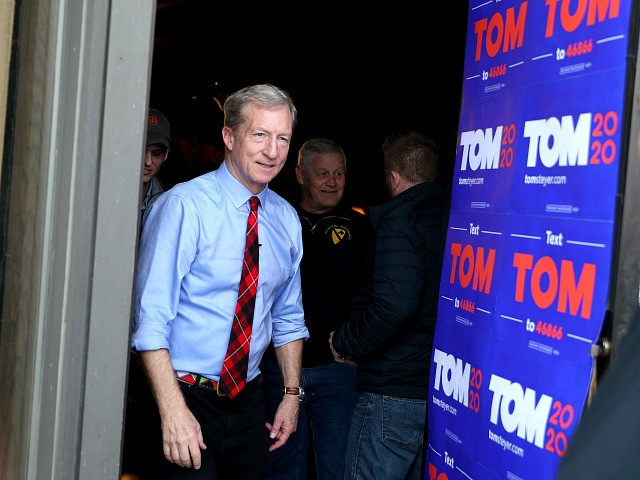 CLINTON, IOWA - JANUARY 31: Democratic presidential candidate Tom Steyer exits after a campaign stop at the The Living Room on January 31, 2020 in Clinton, Iowa. Iowa's first-in-the-nation caucuses will be held on February 3. (Photo by Joe Raedle/Getty Images)