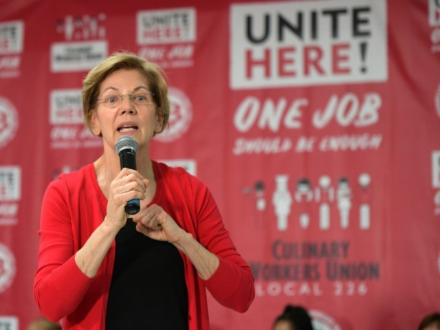 LAS VEGAS, NV - FEBRUARY 18: Elizabeth Warren at the Culinary Union intimate event with guest room attendants, and Senators Amy Klobuchar and Elizabeth Warren discussing working women's fight for One Job Should Be Enough at the Culinary Union's Big Hall in Las Vegas, Nevada on February 18, 2020. Credit: …