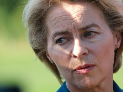 NOSSENTIN, GERMANY - JUNE 24: German Defense Minister Ursula von der Leyen speaks to the media near the crash site of one of two Bundeswehr Eurofighter fighter jets on June 24, 2019 near Nossentin, Germany. Two Eurofighters collided during training earlier today, leaving one pilot dead. (Photo by Sean Gallup/Getty …