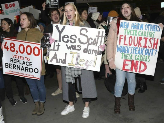 "Protesters demonstrate at the Broadway opening night of ""West Side Story"" at The Broadway Theatre on Thursday, Feb. 20, 2020, in New York. (Photo by Greg Allen/Invision/AP)"