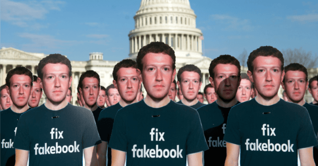 One hundred cardboard cutouts of Facebook founder and CEO Mark Zuckerberg stand outside the US Capitol in Washington, DC, April 10, 2018. - Advocacy group Avaaz is calling attention to what the groups says are hundreds of millions of fake accounts still spreading disinformation on Facebook. (Photo: Saul Loeb/AFP/Getty Images)
