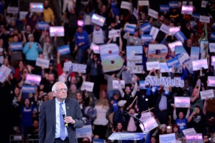 Democratic presidential hopeful Vermont Senator Bernie Sanders, pictured at a New Hampshire campaign event on February 8, 2020, has claimed frontrunner status for the first time