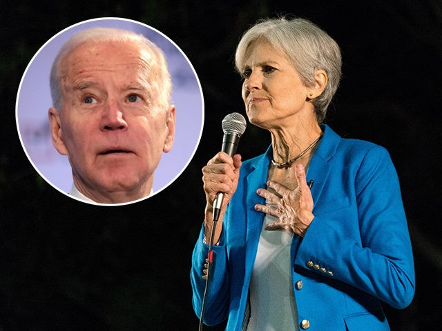 (INSET: Joe Biden) Green party presidential candidate Jill Stein addresses supporters at Pershing Square in Los Angeles.
