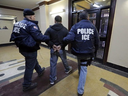 FILE- In this March 3, 2015 photo, Immigration and Customs Enforcement officers escort an arrestee in an apartment building, in the Bronx borough of New York, during a series of early-morning raids. New York City leaders are trying to strike a balance between purging dangerous criminals and protecting some of …