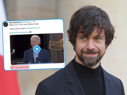 """(INSET: screenshot of Trump campaign's Dan Scavino with a tweet labeled """"manipulated media"""") Twitter CEO Jack Dorsey leaves after his talk with French President Emmanuel Macron at the Elysee Palace Friday, June 7, 2019 in Paris. (AP Photo/Francois Mori)"""