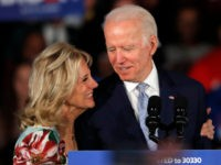 Democratic presidential candidate former Vice President Joe Biden, accompanied by his wife Jill Biden, speaks at a primary night election rally in Columbia, S.C., Saturday, Feb. 29, 2020. (AP Photo/Gerald Herbert)