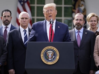 President Donald Trump speaks during a news conference about the coronavirus in the Rose Garden of the White House, Friday, March 13, 2020, in Washington. (AP Photo/Evan Vucci)
