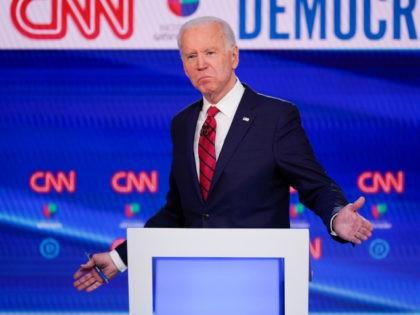 Former Vice President Joe Biden, participates in a Democratic presidential primary debate at CNN Studios in Washington, Sunday, March 15, 2020. (AP Photo/Evan Vucci)