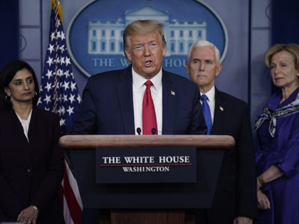 President Donald Trump speaks during press briefing with the Coronavirus Task Force, at the White House, Wednesday, March 18, 2020, in Washington. (AP Photo/Evan Vucci)