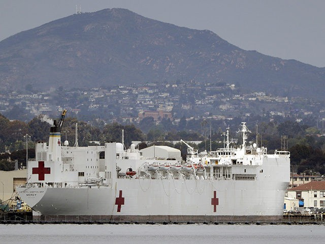 The USNS Mercy, a Navy hospital ship is seen docked at Naval Base San Diego Wednesday, March 18, 2020, in San Diego. Defense Secretary Mark Esper said Tuesday he has asked the Navy to prepare its two hospital ships — the USNS Mercy and the USNS Comfort in New York …
