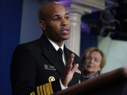 Surgeon General Jerome Adams speaks during press briefing with the coronavirus task force, at the White House, Thursday, March 19, 2020, in Washington. (AP Photo/Evan Vucci)