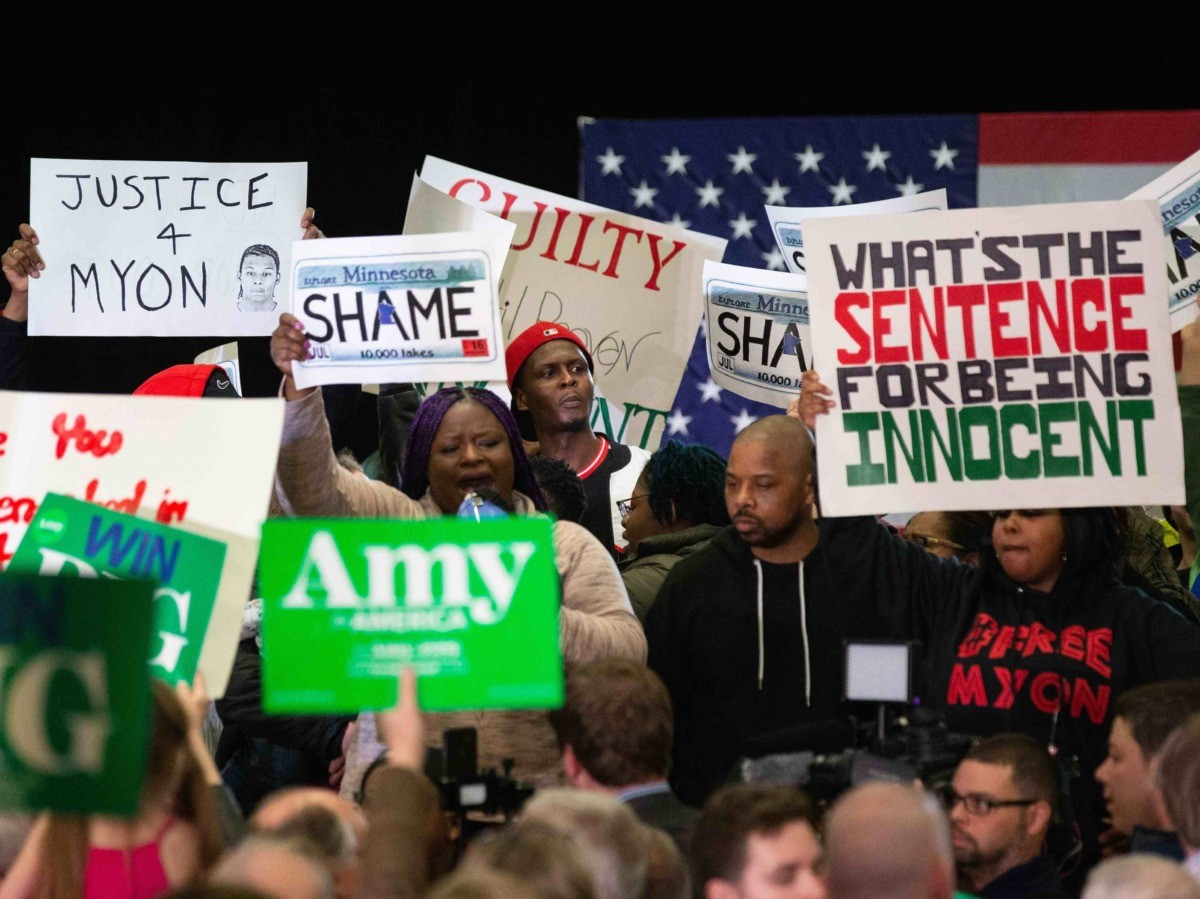 Amy Klobuchar disrupted by Black Lives Matter (Kerem Yucel / Getty)