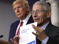 "WASHINGTON, DC - MARCH 20: Director of the National Institute of Allergy and Infectious Diseases Dr. Anthony Fauci holds up the ""15 Days to Slow the Spread"" instruction as U.S. President Donald Trump looks on during a news briefing on the latest development of the coronavirus outbreak in the U.S. …"